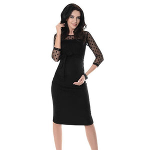 Women's Maternity Ruched Bodycon Pregnancy Knee Length Dress With Polka Dot Lace Sleeves Solid Color Red
