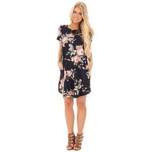 Women's Short Sleeve Floral Print Mid Thigh Length Pencil Dress Blue