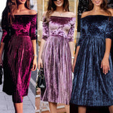 Women's Off The Shoulder Velvet 3/4 Sleeve Mid Calf Length Dress Blue Purple Red