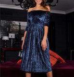 Women's Off The Shoulder Velvet 3/4 Sleeve Mid Calf Length Dress Blue