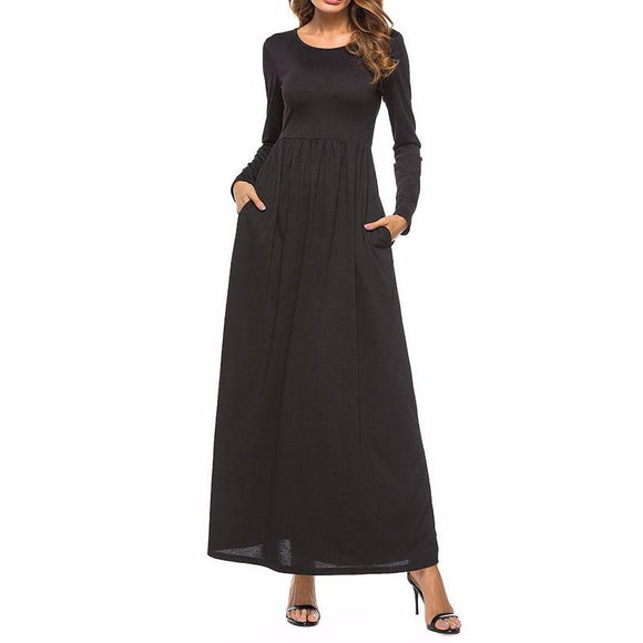 Women's O-Neck With Pockets Long Sleeve Maxi Dress Black