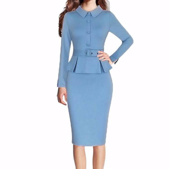 Women's Long Sleeve Vintage Peplum Lapel Knee Length Dress With Waist Tie Blue