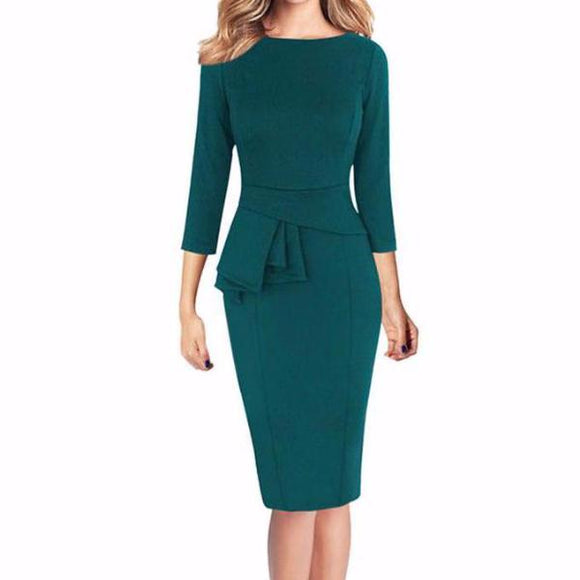Women's Frill Peplum 3/4 Sleeve Zippered Back Bodycon Knee Length Dress Green