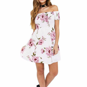 Women's Off The Shoulder Short Sleeve Floral Print Mid Thigh Dress White Pink