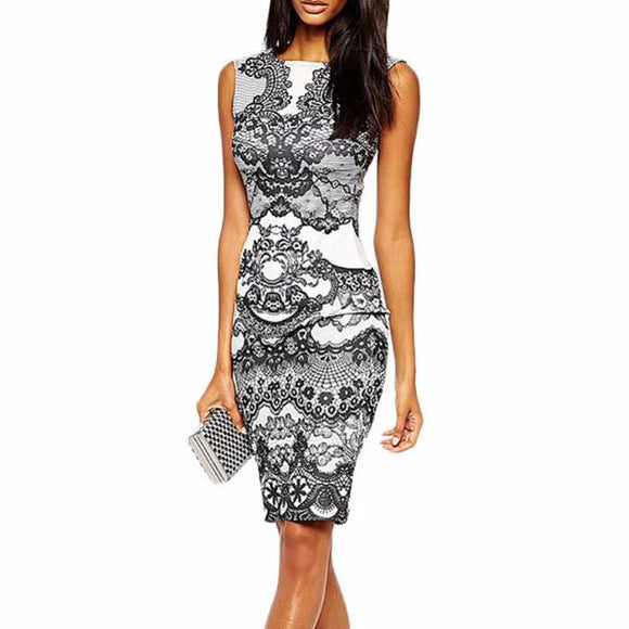 Women's Sleeveless Lace Print Knee Length Dress White Black