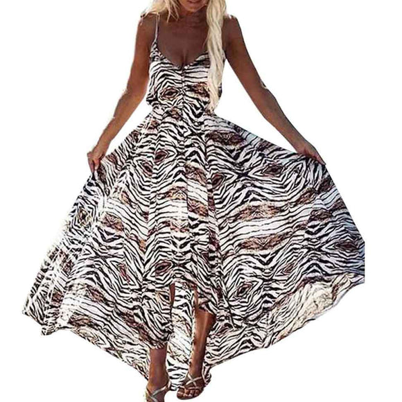 Women's Hi-Lo Spaghetti Strap V-Neck Leopard Print Boho Maxi Dress Multicolor