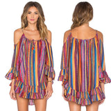 Women's Rainbow Print Off The Shoulder Spaghetti Strap 3/4 Sleeve Fringed Loose Chiffon Dress