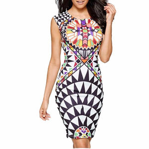 Women's Sleeveless Round Neck Tribal Print Sheath Knee Length Multicolor Dress
