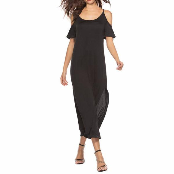 Women's Off The Shoulder Spaghetti Strap Side Slit Maxi Dress Solid Color Black