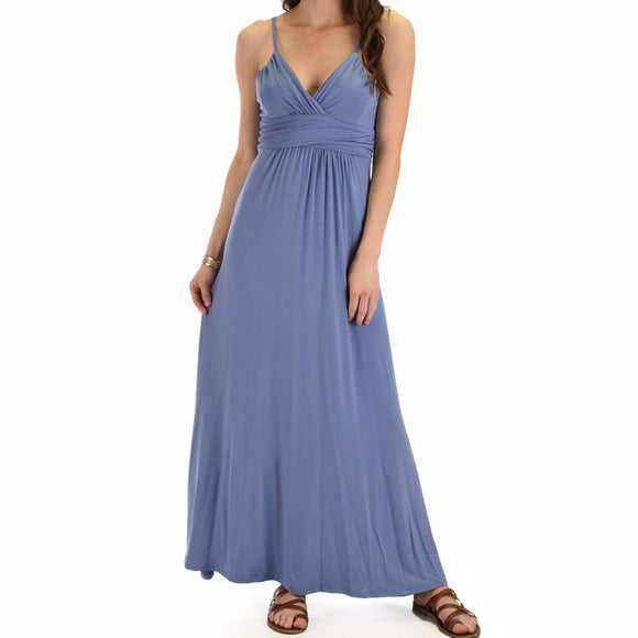 Women's V-Neck Spaghetti Strap Maxi Dress Solid Color Blue