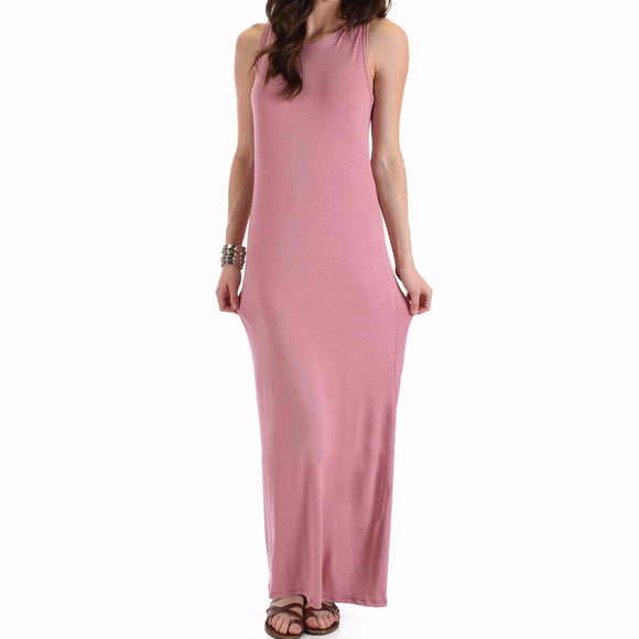 Women's Contemporary Maxi Dress Solid Color Pink