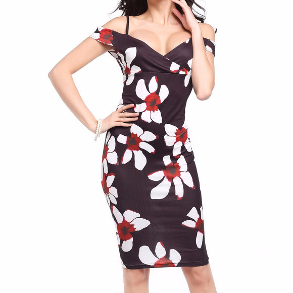 Women's Off The Shoulder Floral Print Spaghetti Straps Knee Length Dress Brown Floral White Flowers