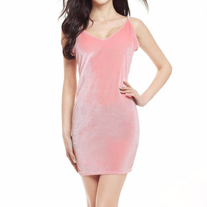 Women's Velvet V-Neck Spaghetti Strap Backless Mid Thigh Dress Pink