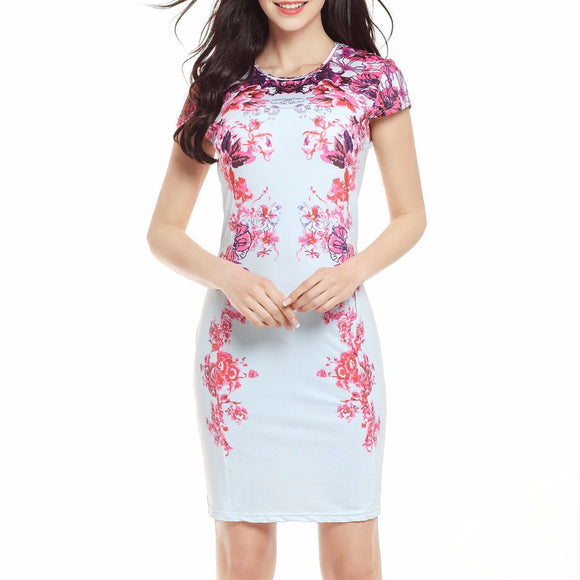 Women's Short Sleeve Floral Print Mid Thigh Length Pencil Dress White