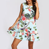Women's Sleeveless Floral Print Loose Fitting Mid Thigh Ruffle Bottom Dress Blue