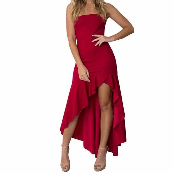 Women's Spaghetti Strap Hi-Lo Boho Dress With Ruffles And Slit Red