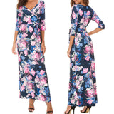 Women's V-Neck 3/4 Sleeve Floral Print Maxi Dress Blue Pink