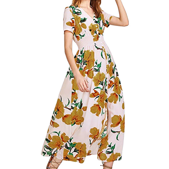 Women's V-Neck Short Sleeve Button Floral Print Maxi Dress