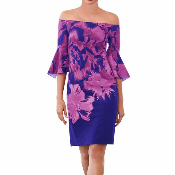 Women's Off The Shoulder Bell Sleeve Floral Print Casual Knee Length Dress Purple