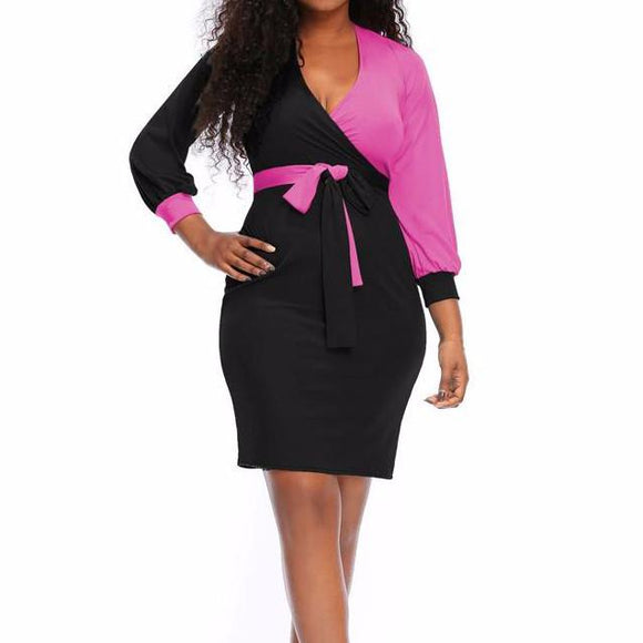 Women's V-Neck 3/4 Sleeve Waist Tie Mid Thigh Length Dress Black Pink