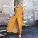 Women's Polka Dot V-Neck Short Sleeve Long Boho Dress Lady Beach Summer Sundress Maxi Dress Yellow