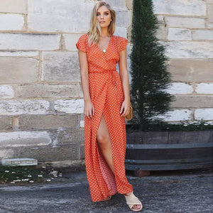 Women's Polka Dot V-Neck Short Sleeve Long Boho Dress Lady Beach Summer Sundress Maxi Dress Orange