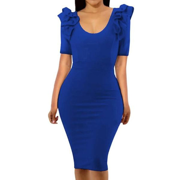 Women's O-Neck Ruffle Shoulder Short Sleeve Body Con Knee Length Dress Solid Color Blue