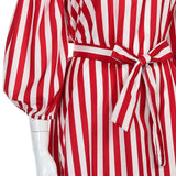 Women's Off The Shoulder Poofy Long Sleeves Striped Knee Length Dress With Waist Belt Red