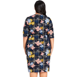 Women's Curvy O-Neck 3/4 Sleeve Floral Print Knee Length Bodycon Dress Dark Blue