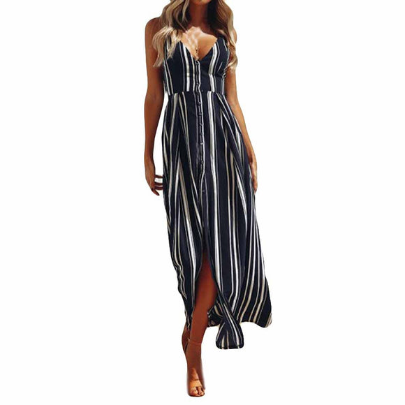 Women's Backless Spaghetti Strap V-Neck Striped Side Slit Maxi Dress Navy