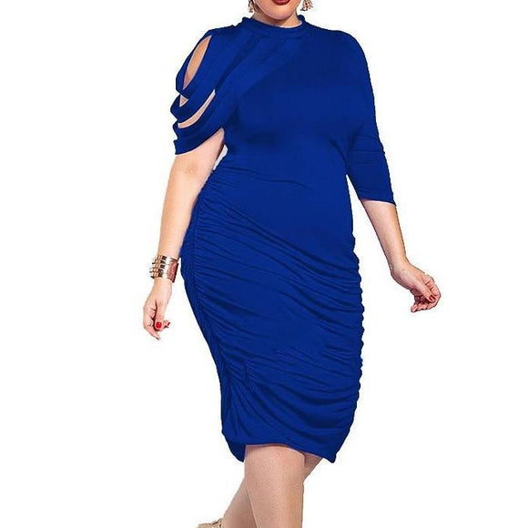 Women's Curvy Asymmetrical High Neck Bandage Ruched Solid Bodycon Knee Length Dress Blue