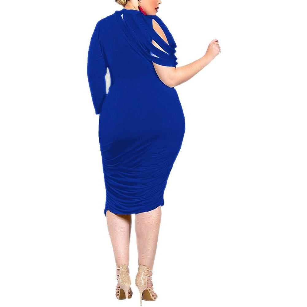 688110d23cc6 ... Women's Curvy Asymmetrical High Neck Bandage Ruched Solid Bodycon Knee  Length Dress ...