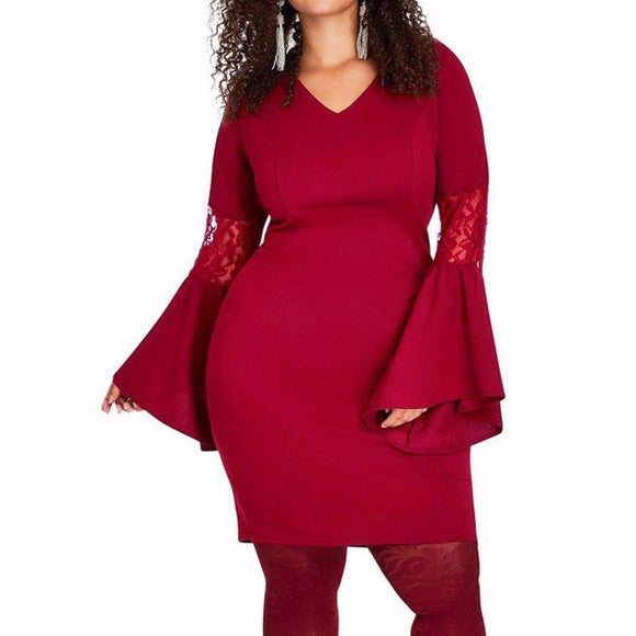 Women's Curvy Lace Bell Sleeve Sheath Knee Length Bodycon Dress Red
