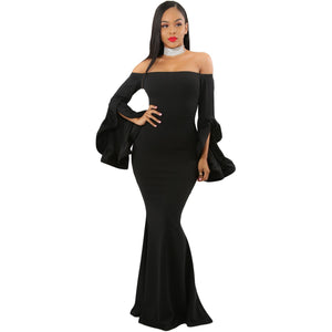 Women's Off The Shoulder Pleated Bell Sleeves Maxi Bodycon Dress Solid Color Red