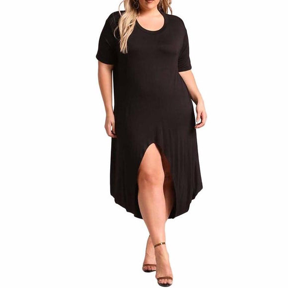 Women's Curvy Hi-Lo Slit Jersey Knit Short Sleeve Tea Length Dress Solid Color Black