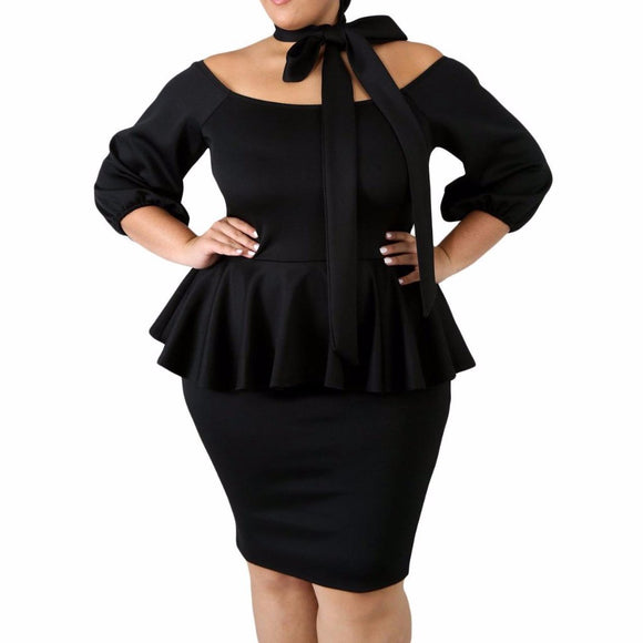 Women's Scoop Neck Curvy Off The Shoulder Peplum Knee Length Dress Black