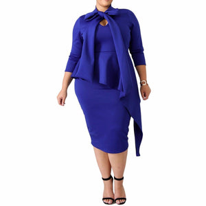 Women's Curvy Bowknot Peplum Asymmetrical Long Sleeve Knee Length Bodycon Dress Blue