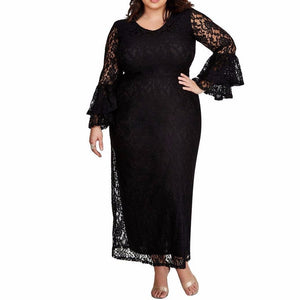Women's Curvy Long Lace Bell Sleeve Lace Maxi Dress Solid Color Black