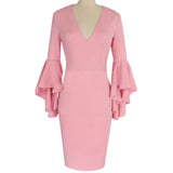 Women's V-Neck Bell Long Sleeve Pencil Bodycon Solid Color Knee Length Dress Pink