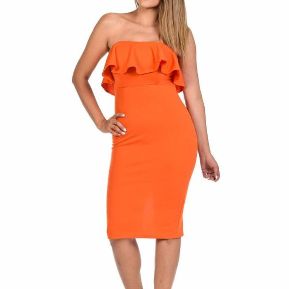 Women's Off The Shoulder Ruffled Top Zippered Body Con Knee Length Dress Orange
