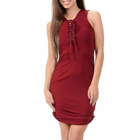 Women's Criss Cross Neck Line Sleeveless Mid Thigh Length Dress Burgundy