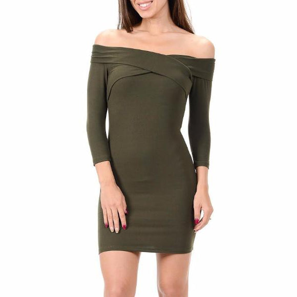 Women's Off The Shoulder 3/4 Sleeve Mid Thigh Length Dress Green