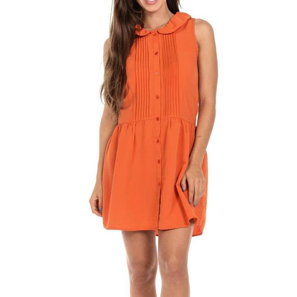 Women's Sleeveless Blouse Collar Button Down Loose Mid Thigh Dress Orange