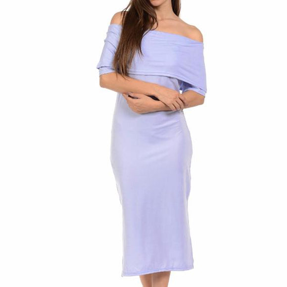 Women's Off The Shoulder Sleeve Elegant Mid Calf Dress Purple