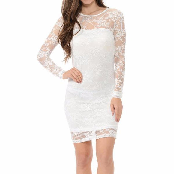 Women's Long Sleeve Lace Mid Thigh Dress White