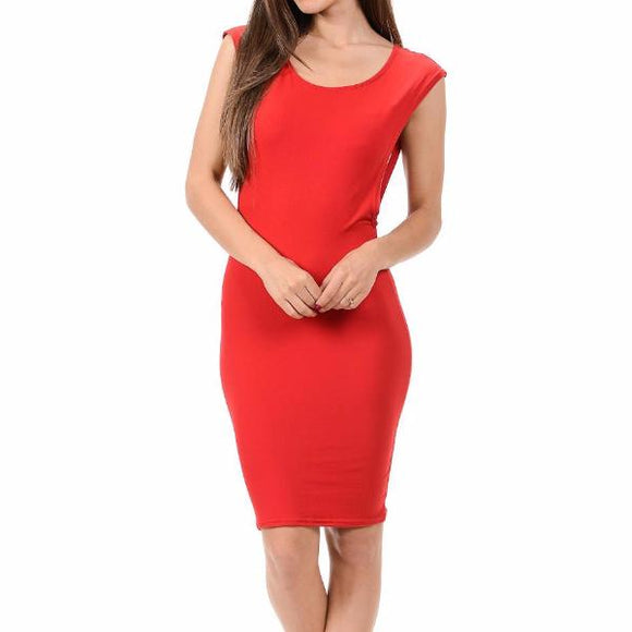 Women's Sleeveless Sideless Bodycon Mid Thigh Dress Red