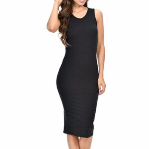 Women's Sleeveless Bodycon Mid Calf Dress Black