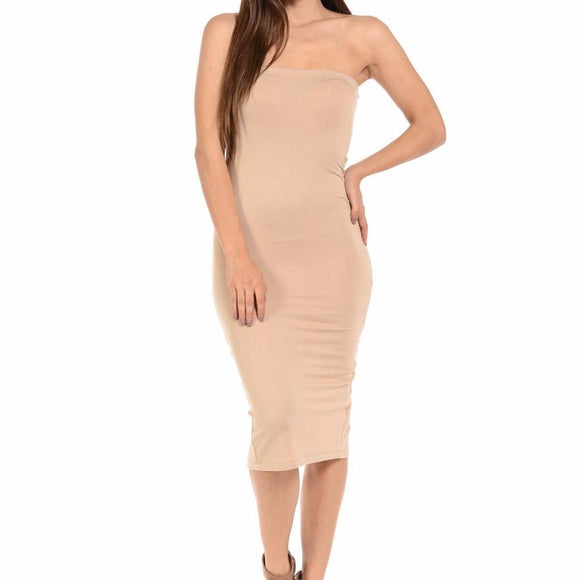 Women's Off The Shoulder Sleeveless Back Slit Bodycon Mid Calf Dress Beige