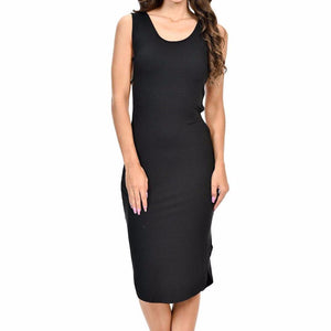 Women's Sleeveless Sideless Slight Slit O-Neck Knee Length Dress Black