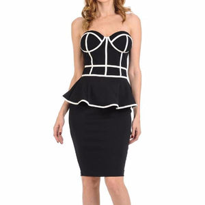 Women's Strapless Sweetheart Neckline Peplum Knee Length Dress Black